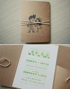SQUEE love the black stamp on brown paper simple invite! (Los Angeles Industrial Greenhouse Wedding: Tawny + Irv)