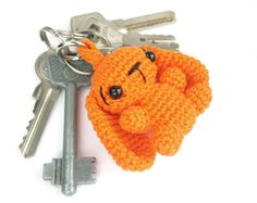 Keychain - Bag charm - Crochet bunny - Amigurumi animal - Stuffed animal keychain - Cute keychain for kids -  Colorful - Cotton - Orange