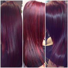 Red violet hair using Schwarzkopf color Red Violet Hair, Violet Hair Colors, Purple Hair, Burgendy Hair, Plum Hair, Hair Colours, Vivid Colors, Hair Color Dark, Cool Hair Color