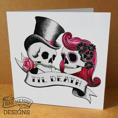 Til Death Skulls Wedding Card Anniversary Card Tattoo Rockabilly Sugar Skull Goth Punk Pink Hair