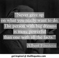 Never give up on what you really want to do. The person with big dreams is more powerful than one with all the facts -- Albert Einstein