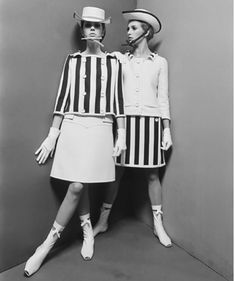 Mod fashion, 1960's. Mod fashion was worn by the young and fashionable in the Mod subculture that originated in London, England. It emphasized a sophisticated look that included tailored suits and an androgynous look for girls.