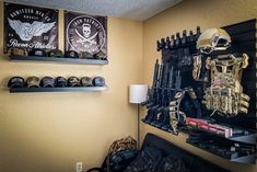 Update your gun room or shop with our USA made gun walls and racks. USA made and family owned! Gun Closet, Room Closet, Man Cave Guns, Gun Rooms, Gun Storage, Slat Wall, Military Guns, Guns And Ammo, New Room