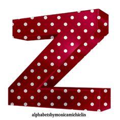 Monica Michielin Alphabets: RED DOTS ALPHABET, RED POLKA DOTS ALPHABETS