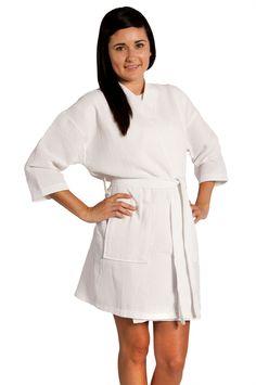 573188161c Waffle Kimono White Floral Short Robe Square Pattern