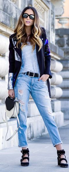 Sequin Accent Jacket Outfit Idea