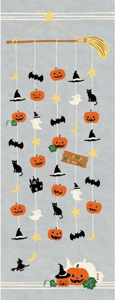 Japanese Tenugui Towel Cotton Fabric, Halloween Mobile, Pumpkin, Bat, Ghost, Cat, Hand Dyed Fabric, Wall Art Hanging, Gift Wrapping,…