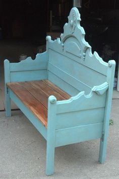 Antique Headboard-Turquoise Bench- BEAUTIFUL- Check out more unique pieces at www.facebook.com/DapperDesignsfurniture