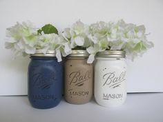 Painted and Distressed Ball Mason Jars- Navy, Beige Light Brown, and White-Set of 3-Flower Vases, Rustic Wedding, Centerpieces