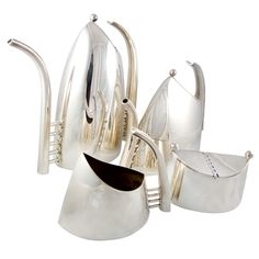 "Silver Plated ""Fenice"" Coffee and Tea Service by Lino Sabattini"