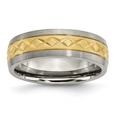 Chisel 7mm and Gold Plated X Design Band, Men's