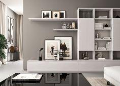 Organizzare con stile il proprio living grazie ai componibili Fiori di Loto. Sistema progettabile su misura nei minimi dettagli che permette di creare un arredo sempre nuovo ed unico. La composizione 14 è perfetta per chi desidera una parete attrezzata dall'aspetto bilanciato che unisce il minimalismo dello stile contemporaneo con la funzionalità degli elementi. In questa composizione la texture dei materiali emerge in tutta la sua luminosità apparendo ricca e tattile. La luce accarezza il ro... Living Room Wall Units, Living Room Tv Unit Designs, Small Living Rooms, Living Room Modern, Home Living Room, Living Room Decor Purple, Living Room Colors, Tv Unit Decor, Rack Tv