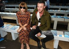 Anna Wintour (L) and Luke Evans attend the Hunter Original Spring/Summer 2016 Collection during London Fashion Week at Euston Station Parcel Deck on September 19, 2015 in London, England.