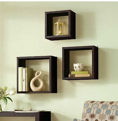 Floating Wall Cube Box Shelf Shelves Light Oak Dark Walnut Set of 3 Modern
