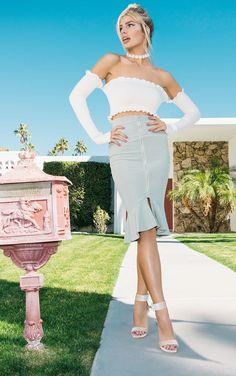 Kalisa Sage Green Slinky Rib Fishtail Midi Skirt | Skirts  |  | PrettyLittleThing