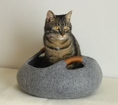 Cat bed/cat house/cat cave/basket felted cat bed by elevele