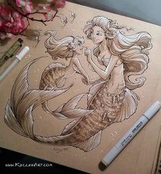 Mother and Daughter Mermaids by KelleeArt on DeviantArt Mermaid tattoo Mermaid Drawings, Mermaid Tattoos, Art Drawings, Pencil Drawings, Mermaid Sketch, Seahorse Tattoo, Mermaid Artwork, Doodle Drawing, Mermaids And Mermen
