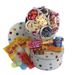 Gifts delivered UK and International - Send the Retro Sweets - Emma Bridgewater Tin Dip And Dab, Sweet Hampers, Sweet Trees, Retro Sweets, Gifts Delivered, Emma Bridgewater, Tin, Polka Dots, My Favorite Things