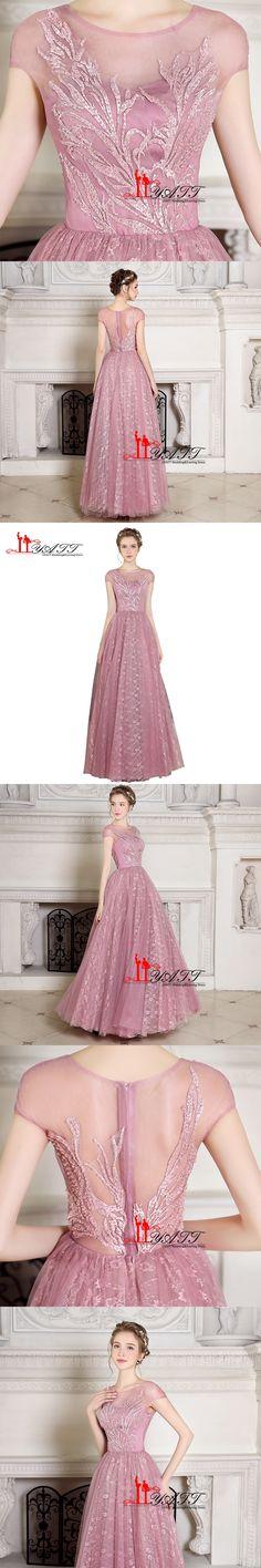 Sky Blue Pink Evening Dress Short Sleeves Lace Applique Prom Dresses ...