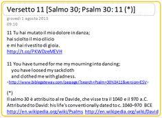 1 http://en.wikipedia.org/wiki/Psalms  2 http://en.wikipedia.org/wiki/David  3 http://www.amazon.it/giorno-parola-Letture-bibliche-quotidiane/dp/8870169065/ref=sr_1_5?ie=UTF8=1375342579=8-5=un+giorno+una+parola  4 http://www.biblegateway.com/passage/?search=Psalm+30%3A11=ESV