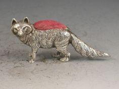 Edwardian Novelty Silver Fox Pin Cushion