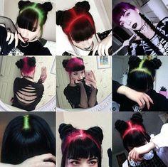 Two Color Hair, Hair Color For Black Hair, Cool Hair Color, Pretty Hairstyles, Wig Hairstyles, Chic Short Hair, Goth Hair, Curly Hair Problems, Neon Hair