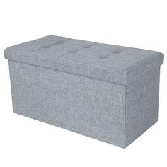 Songmics 76 x 38 x 38 cm Faltbarer Sitzhocker belastbar bis 300 kg Fußbank Sitzbank Aufbewahrungsbox leinen lichtgrau LSF47G: Amazon.de: Küche & Haushalt