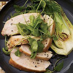 Mustard-Glazed Chicken with Arugula and Bok Choy Recipe