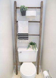 Diy Bathroom Storage Over Toilet 31 New Ideas Room Makeover, Bathroom Makeover, Over Toilet, Toilet Shelves, Small Bathroom, Bathroom Accessories, Bathroom Decor, Ladder Decor, Bathroom Storage Over Toilet