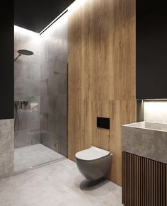 Like that shower wall textures. Dont like the concrete sink Bathroom Lighting Design, Bathroom Layout, Modern Bathroom Design, Bathroom Interior Design, Small Bathroom, Glamorous Bathroom, Toilet Design, Bathroom Toilets, Washroom