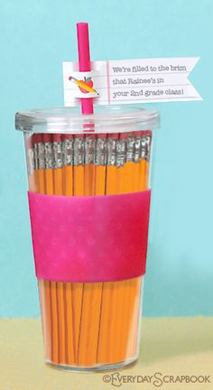 Great teacher gift--Fill a cup with pencils and add a personalized note! What teacher can't use more pencils?