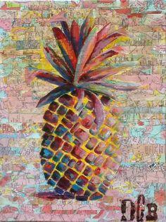 "Acrylic painting on recycled maps and magazines. ""The yellow pineapple"" DCB art. #aruba #recycledart #onehappyisland"