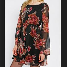 Staring at Stars bell sleeve dress Black dress from Urban Outfitters with floral pattern. Bell sleeves. Low-ish back. Great condition! Staring at Stars Dresses
