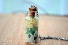 Terrarium necklace quartz and moss glass by VeinsOfNature on Etsy