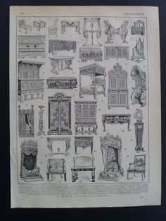Items similar to FURNITURE STYLES print 1902 original antique French print about history of furnitures design old b/w drawings illustration vintage chair on Etsy