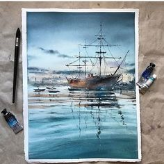 watercolor by Mayorova Anna . watercolor by kazou kasai . Watercolor Scenery, Watercolor Artwork, Watercolor Landscape, Watercolor Illustration, Watercolor Water, Guache, Beautiful Paintings, Painting & Drawing, Amazing Art