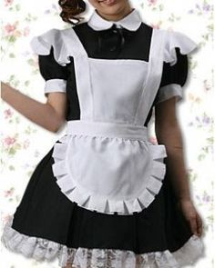 Cotton Black And White Maid Cospaly Lolita Dress. COSMAKER COSPLAY VALDIVIA f1f9cf749437