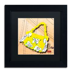 'Bow Purse White on Yellow' by Roderick Stevens Framed Graphic Art