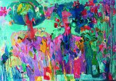Zagubione w kwiatach | Lost in flowers, Beata Wąsowska, oil on canvas, 1994,