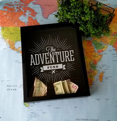 Save for your next exciting adventure with this black, top-loading shadowbox, that is laser engraved with the perfect design for your savings fund. It's the perfect glass front case for money, trinkets, or items you collect on all your fun adventures.. The top loading features makes it easy to add to your collection. The backer can also be removed and decorated with scrapbook paper, fabric or other materials. Best Friend Christmas Gifts, Birthday Gifts For Best Friend, Money Box Wedding, Card Box Wedding, Travel Fund, Travel Gifts, Gifts For Teens, Teen Gifts, Customized Gifts