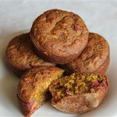 Healthy Pumpkin Cranberry Muffins Allrecipes.com   old fashion oats ok, leave out white sugar, extra 1/4 cups dried cranberries, extra oats for all purpose flour