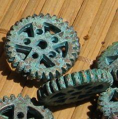 SPROCKET steampunk GEAR - Verdigris patina 4 pcs. $3.65, via Etsy.