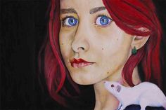 An oil on paper painting depicting a big eyed girl with a rat on her shoulder. Reference- http://www.deviantart.com/art/Algernon-421315452 see more @ the mind is right http://themindisright.com/Project/RAT