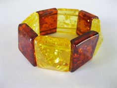 Lucite Amber Bracelet Stretch Chunky Plastic by TheSnapDragonsLair