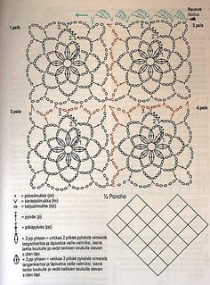 How to Crochet a Solid Granny Square Poncho Crochet, Crochet Flower Scarf, Bonnet Crochet, Crochet Motifs, Crochet Blocks, Crochet Diagram, Crochet Chart, Crochet Squares, Love Crochet