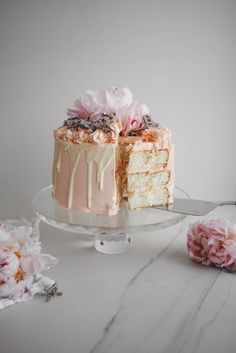 Pink Champagne, White Chocolate and Rose Layer Cake