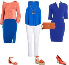 I thought orange was a challenging color to match. But I actually came up plenty of interesting how to wear orange combinations! Check out these outfits! Womens Fashion Casual Summer, Office Fashion Women, Curvy Women Fashion, Blue Color Combinations, Fashion Over, Fashion Edgy, Cheap Fashion, Fashion Ideas, Fashion Outfits