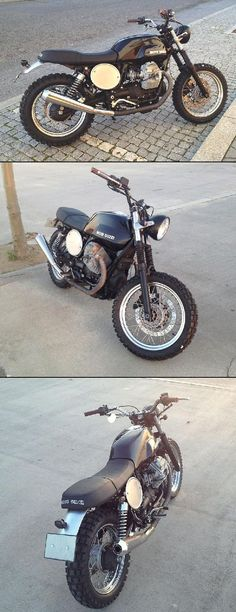 Hybrid between a scrambler and a tracker on a Guzzi v7