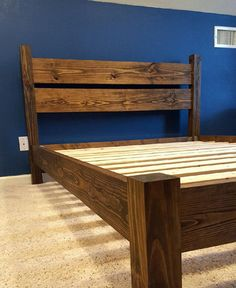 Solid Wood Platform Bed With Headboard