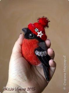 Украшение Новый год Валяние фильцевание Броши птички Шерсть фото 1